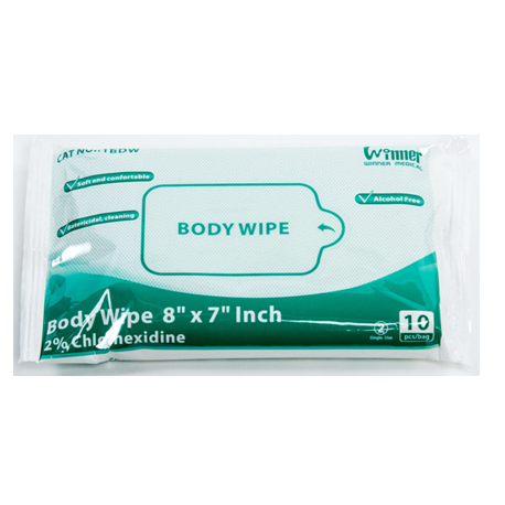 Body wipes, 8'x7', with 2% chlorhexidine (10/Pack)