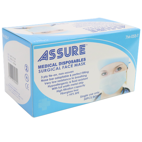 Pcs Mask Blue Assure Surgical Tie-on box At 50 Online 3-ply Buy