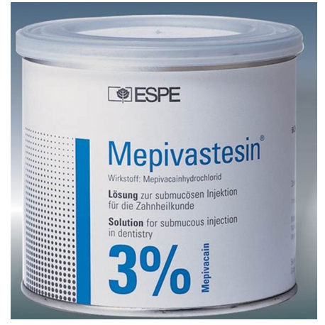 3M Mepivastesin Local Anaesthetic solution 3%, 50 cartridges/tin