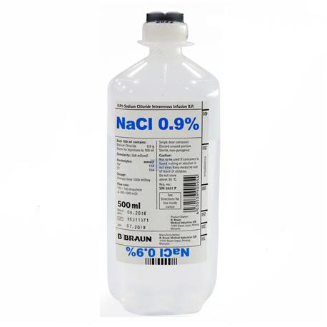 Sodium Chloride 0.9% IV Infusion 500ml, 10 bottles/carton