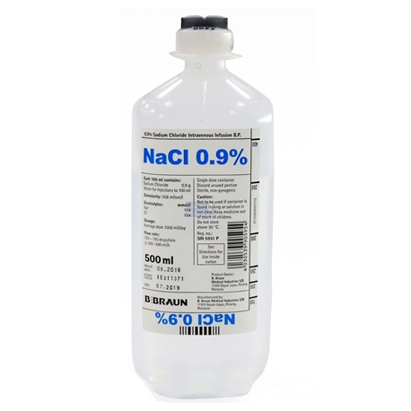 B Braun Sodium Chloride Intravenous Infusion, B. P. 0.9%, 500ml Soft Bottle