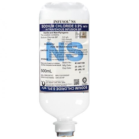 Infusol NS Sodium Chloride Intravenous Infusion, B. P. 0.9%, 500ml