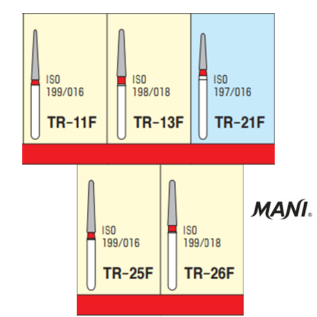MANI Diamond Bur Tapered Round,Fine(5pcs/pack)