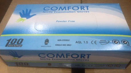 Comfort Nitrile Examination Gloves Powder-Free, 4 gm (Carton)