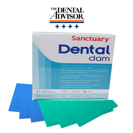 Sanctuary Powder Free Latex Dental Dams 5''x 5''