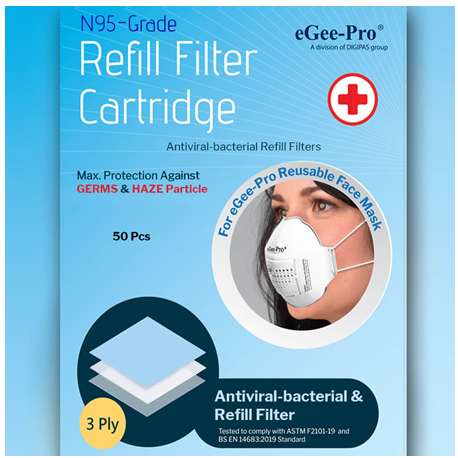N95-Grade Antiviral-Bacterial Refill Filters For eGee Pro Reusable Mask, 50pcs/Pack