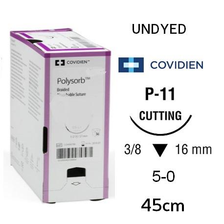 Covidien Polysorb Absorbable UNDYED Sutures 5-0 16mm P-11 45cm (36pcs/Box)
