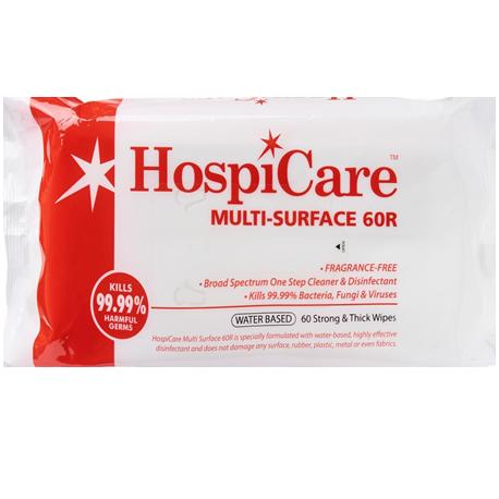 Hospicare Multi-Surface Wipes 60R, 18cm x 18cm, 60pc/pk