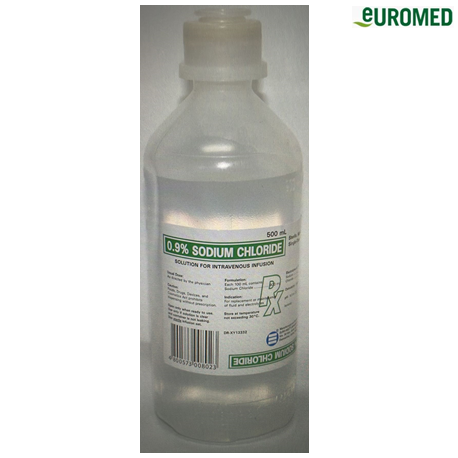 Euromed 0.9% Sodium Chloride Intravenous Infusion USP 23, 500ml