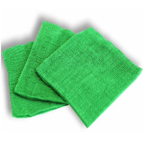 Non-sterile Green Gauze, 10x10cm, 8ply (100/pack)