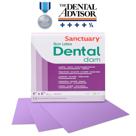 Sanctuary Non-Latex Dental Dams 6''x 6'' Purple Mint-Medium (15s/Box)
