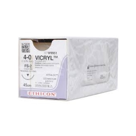 J&J Ethicon Sutures Vicryl 4/0 45cm W9951 (12pcs/Box)