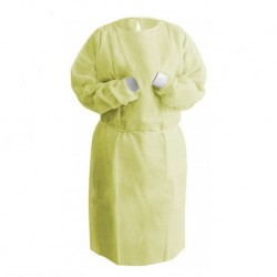 Isolation Gowns with knitted cuff, 40gsm (Yellow) (Sz.M) (100pcs/ctn)