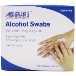 Assure Alcohol Swab Sterile 3cmx3cmx2ply ,200's/box