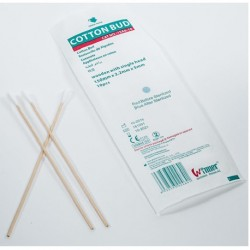 Sterile cotton applicator, wooden with single head, 6'' (100pcs/Box)