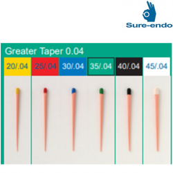 Sure Endo Greater Taper 0.04 GP Points Size #20 ~ 45 (mm marked)