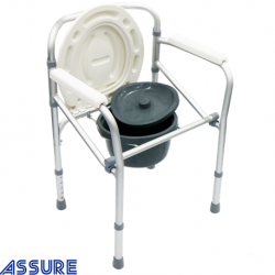 Assure aluminium commode chair with stationary height adjustable