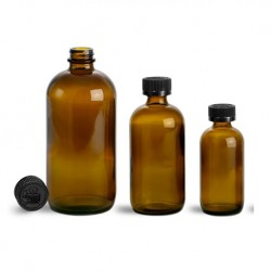 Amber Round Glass Medicine Bottle with Black Cap & Stopper