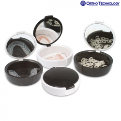 Ortho Technology Retainer Case w/Mirror 12/Pack Black & White #45204