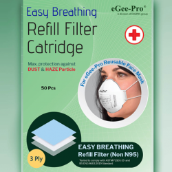 N95-Grade Easy Breathing Antiviral-Bacterial Refill Filters For Reusable Mask, 50pcs/Pack