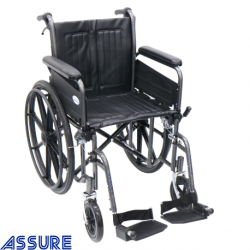 Assure Hammertone steel wheelchair with detachable armrest &footrest,18''