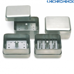 Nichrominox 12-holes Bur block with Stainless steel box