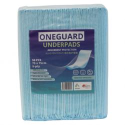 OneGuard Underpads 75cm x 75cm, 60gm with 6gm SAP (50pcs/bag, 6bags/carton)