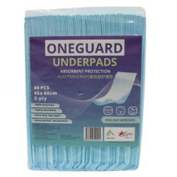 OneGuard Underpads 45cm x 60cm, 24gm with 3gm SAP(60pcs/bag, 6bags/carton)