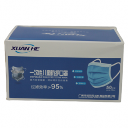Xuan He 3ply Children Disposable Protective Face Mask, 50pcs/box