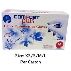 Comfort Plus Latex Examination Gloves Powdered, (Per Carton)