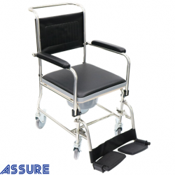 Assure Rehab Stainless Steel DAF Commode with 4 lock