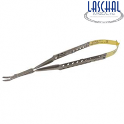 Laschal 17.75 round handled needle holder w/suture cutter and curved tips