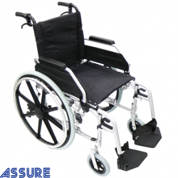 Assure Aluminium wheelchair with detachable desk arm and footrest,18''