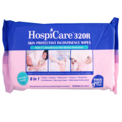 Hospicare 320R Skin Protectant Incontinence Wipes, 26cm x 20cm, 20pc/pk
