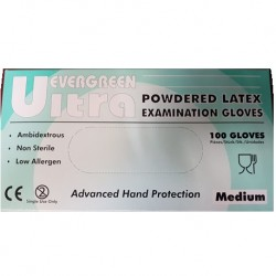 Ultra Evergreen Latex Examination Gloves, Powdered (10 Boxes/Carton)- Medium