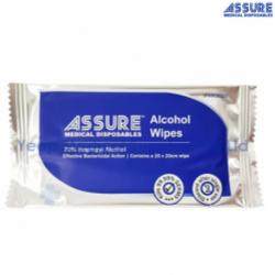 Assure Alcohol Wipes 20cm X 20cm, Individually Wrapped, 100 Pieces/ Bag