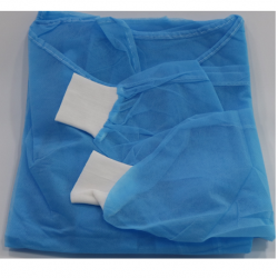 Assure Isolation Gown Blue 30gsm with Knitted Cuff, 100pcs/Carton