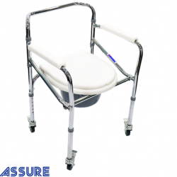 Assure Rehab Chrome Steel Commode foldable with 4 locks