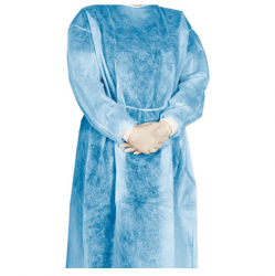 Disposable Isolation Gowns with Velcro, 40gsm (Blue) (100pcs/ctn)
