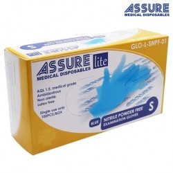 Assure Soft Nitrile Gloves Lite Powder-Free Blue, Size L (100pcs/Box, 10boxes/carton)