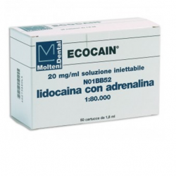Molteni Dental Ecocaine Lidocaine HCL 1: 80,000 (Box of 50 x 1.8ml)