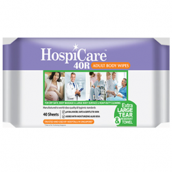 WTR Hospicare 40R Body Wipes, 30cm x 20cm, 40pc/pk, 18pk/ct