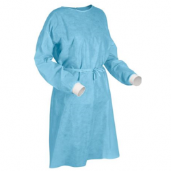 Isolation Gowns with knitted cuff & velcro at neck 40gsm (100pcs/carton)