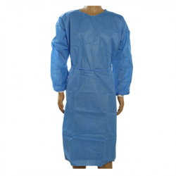 Isolation Gown with knitted cuff, 40gsm (Blue) (Sz.M) (50pcs/ctn)