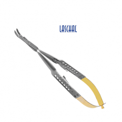 Laschal 15 cm round handled needle holder w/suture cutter and curved tips