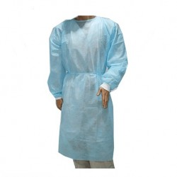 Isolation Gowns with knitted cuff, 30gsm (Light Blue) (Sz.M) (100pcs/ctn)