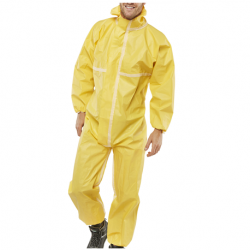 Single use Protective Coverall with Polyethylene Barrier Film, 88gsm, Yellow in color