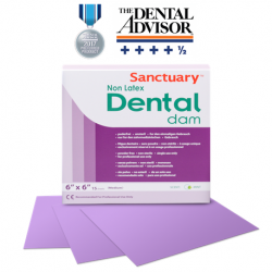 Sanctuary Non-Latex Dental Dams 6''x 6'' Purple Mint-Medium (15s/Box)