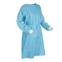 Disposable Isolation Gowns with Knitted cuff and Neck Tie-on, 40gsm, 5pcs/pack,
